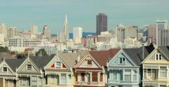 San Francisco downtown buildings skyline over townhouses Stock Footage