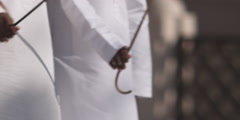Arabic men performing traditional dance with sticks. Stock Footage