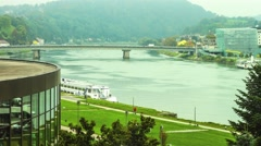 Timelapse of the River Danube in Linz Stock Footage