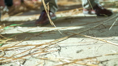Pickers bundle of straw Stock Footage