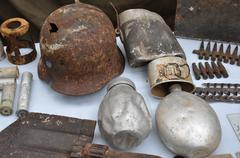 Pieces of old weapon found on the battlefield Stock Photos