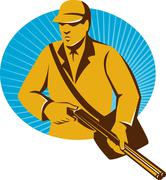 Stock Illustration of hunter hunting with shotgun rifle retro.
