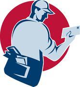 Mailman postman deliver mail envelope retro. Stock Illustration