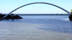Toronto Humber Bay Arch Bridge with people silhouettes Stock Footage