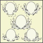 Ribbon frame and border ornaments Stock Illustration