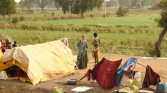 Village poor people in Disert Rajasthan India Stock Footage