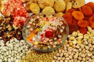 Wheat pudding with dried nuts and fruits (Asure) Stock Photos