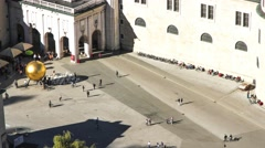 Timelapse of people visiting Kapitalsquare in Salzburg Stock Footage