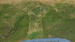 Glide over the satellite map of Benin outlined Stock Footage