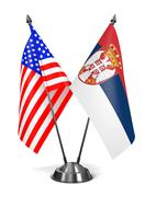 USA and Serbia - Miniature Flags - stock illustration