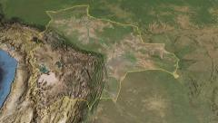 Glide over the satellite map of Bolivia outlined Stock Footage