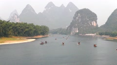 Hill and river. Yangshuo. Guangxi. China. Stock Footage