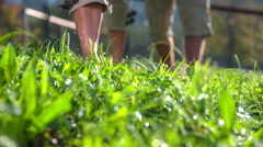 Couple walking trough the wet grass Stock Footage