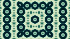 Beautiful teal kaleidoscopic pattern with floral rings. Stock Footage