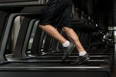 Man Feet On Treadmill - stock photo