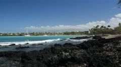 Anaehoomaulu Bay, Waikoloa Resort, Kohala Coast, Island of Hawaii Stock Footage
