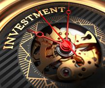 Stock Illustration of Investment on Black-Golden Watch Face