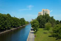 The Rideau Canal in Ottawa, Canada Stock Photos
