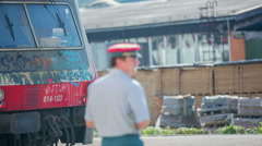 Train conductor waiting to let the train to go Stock Footage