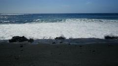 Keawaiki Bay, Black Sand Beach, Kohala Coast, Island of Hawaii Stock Footage