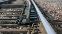 Moving a rail to change the way for train Stock Footage