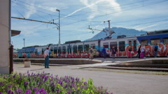Train stopping at the station Stock Footage