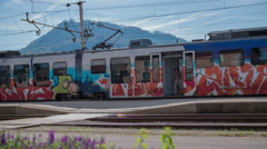 Traveling with train on a sunny day Stock Footage