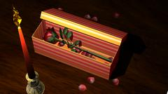 Red Rose in Gift Box with Candle and Flower Petals - stock illustration