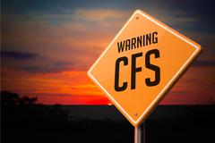 CFS on Warning Road Sign - stock illustration