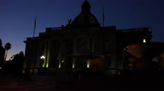 The imposing City Hall building of Redwood City, California at night. Stock Footage