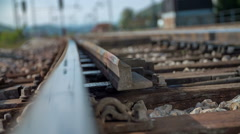 Adjusting the rails for train to come to the station Stock Footage