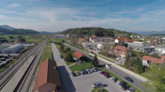 Train station in the countryside Stock Footage
