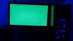 Computer With a Green Screen Stock Footage
