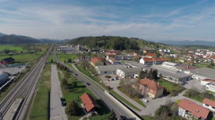 A nice village with big train station Stock Footage