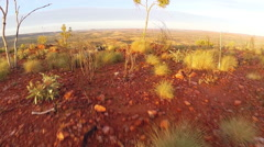 Flying Out Over A Mountain Towards Mt Isa Stock Footage