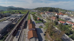 Train station from birds eye view Stock Footage