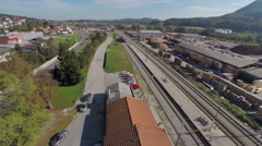 Small village with train station Stock Footage