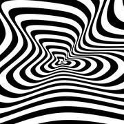 Concentric abstract symbol, puckered  blot - optical, visual illusion Stock Illustration