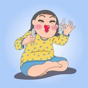 Illustration of girl playing paper dolls Stock Illustration