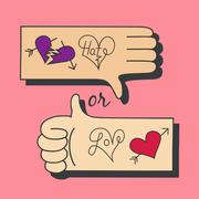 Hands making love and hate symbol Stock Illustration