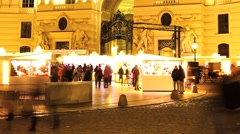 Nightly scene of the Hofburg in Vienna Stock Footage