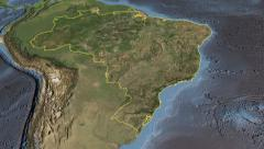 Glide over the satellite map of Brazil outlined Stock Footage