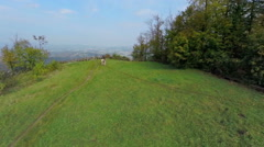 Beautiful lookout spot over the countryside Stock Footage