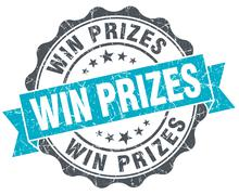 win prizes vintage turquoise seal isolated on white - stock illustration