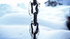 Frozen chain at winter season Stock Footage