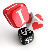 I love dollars 3d colorful box tower Stock Photos