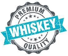 whiskey vintage turquoise seal isolated on white - stock illustration