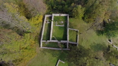Birds eye view of a castle ruins Stock Footage