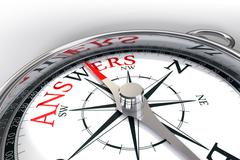 the way towards answers concept compass - stock photo