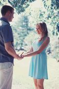 Pretty happy couple in love, romantic sincere moment Stock Photos